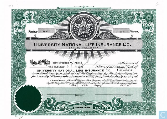 University National Life Insurance Co, Share certificate, Capital - Company Share Certificates