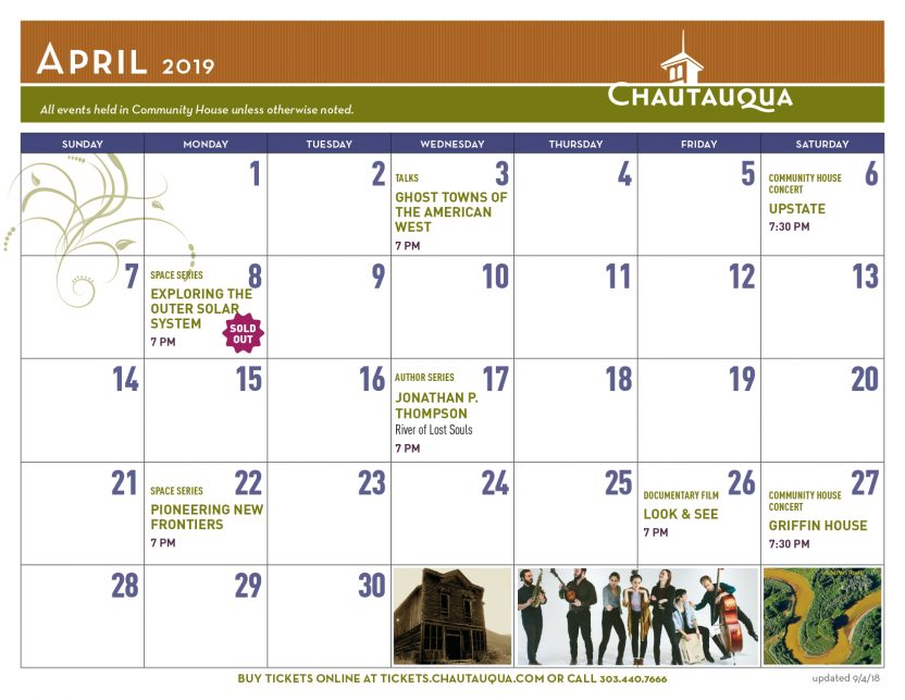 Calendar The Colorado Chautauqua Association