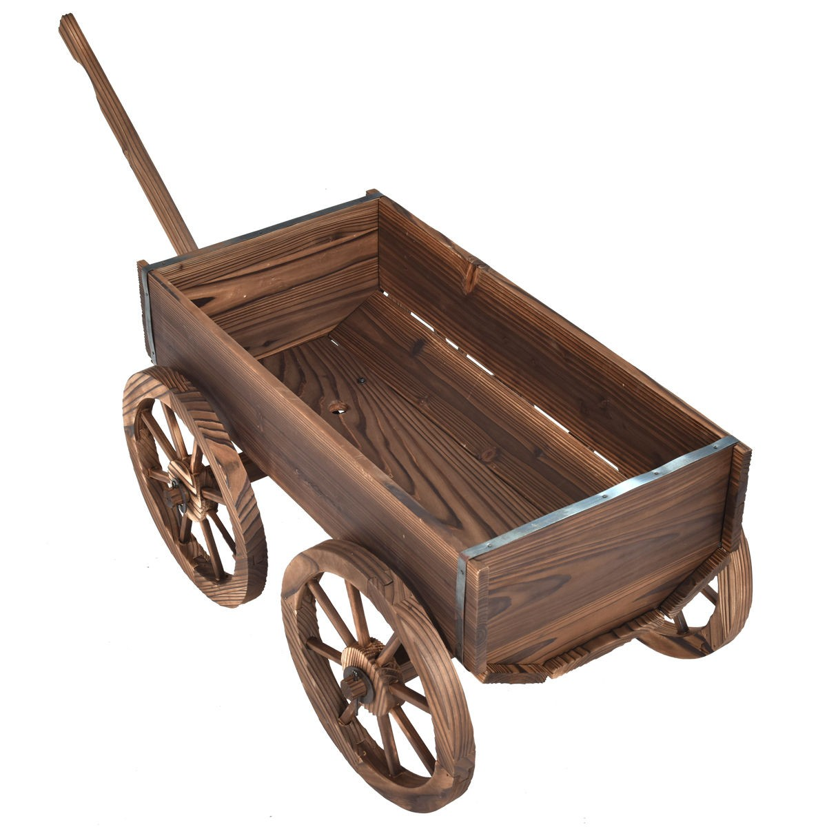 Plant Stands On Wheels Wood Wagon Planter Pot Stand With Wheels Pots And Planters