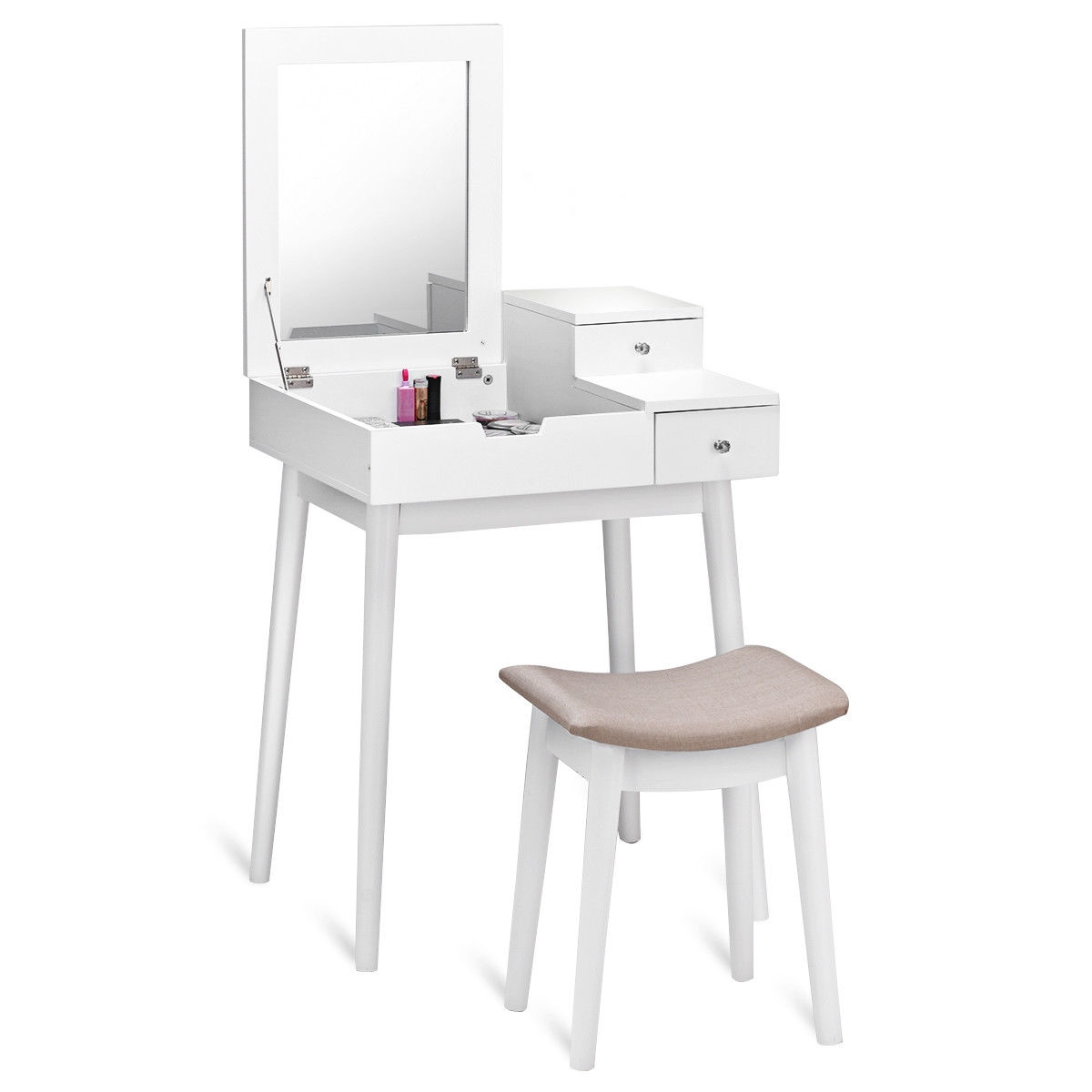 Vanity Desk Chair 127 95 Vanity Dressing Table Set Flip Mirror Desk