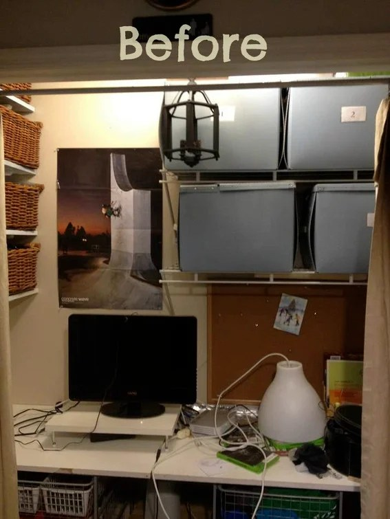 Ikea Inside Before And After: An Incredible Office-in-a-closet