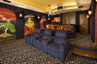 Blue Themes Media Room With Wall Art Design / design ...