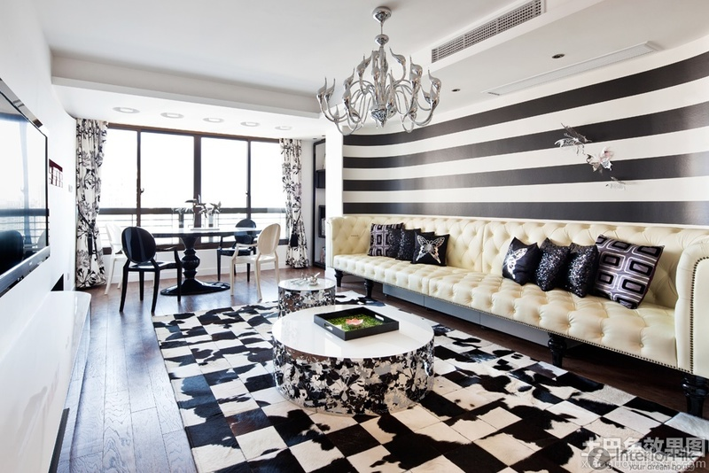 Living Room Sofa In Black And White Striped Walls Pictures