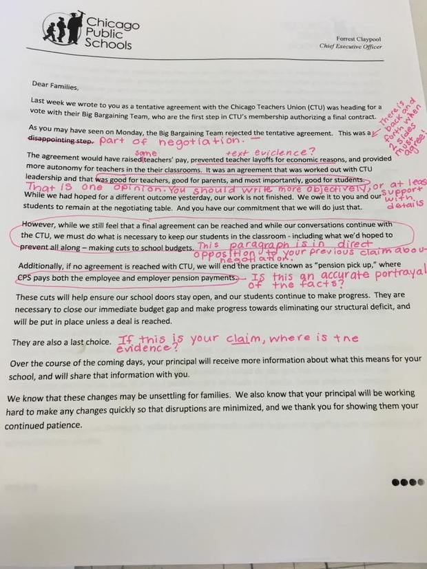 Teachers Union Calls Out CPS \u0027Lies\u0027 in Letter to Parents - Downtown - Teacher Letters To Parents