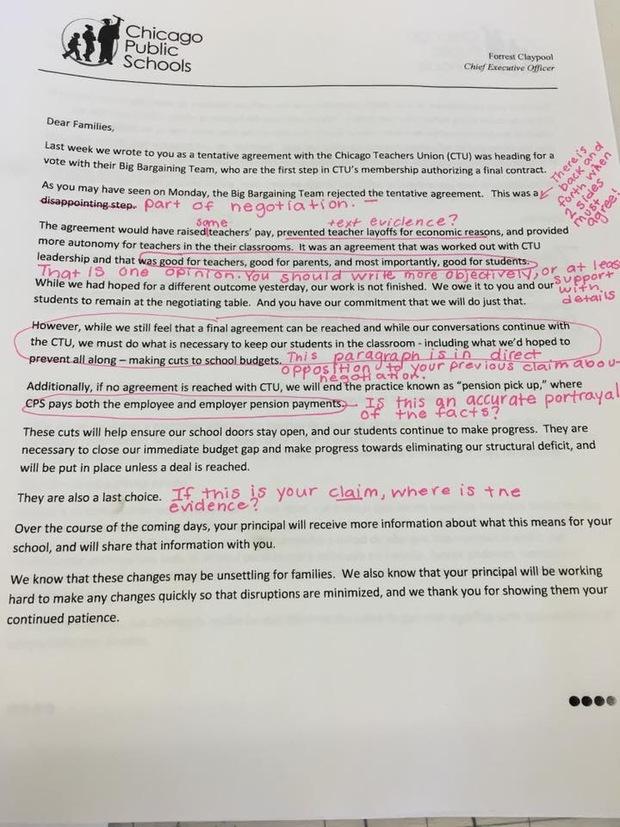 Teachers Union Calls Out CPS \u0027Lies\u0027 in Letter to Parents - Downtown - Teacher Letters To Parents
