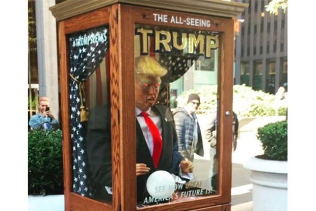Kitchen Island Booth 'all-seeing' Trump Fortune Teller Pops Up In Front Of News