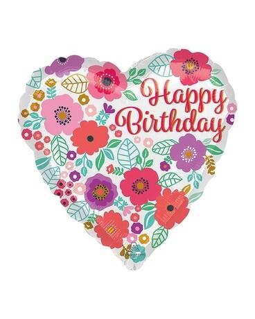 Happy Birthday Floral Print Balloon in Burlington VT - Kathy and