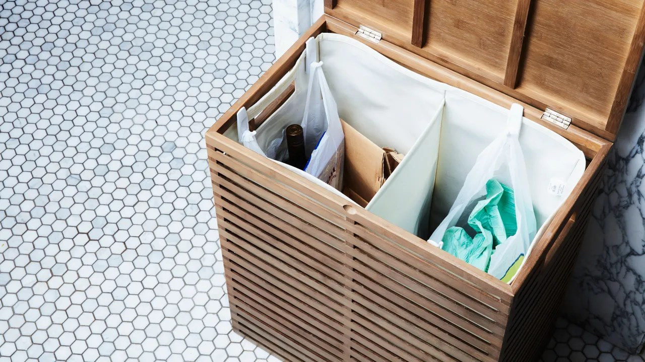 Laundry Trash Cans Turn A Laundry Hamper Into A Trash And Recycling Bin Epicurious