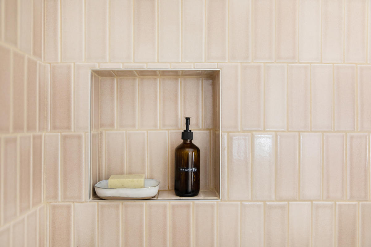 The Fresh Exchange Pink And Brown Tile Bathroom Fireclay Tile