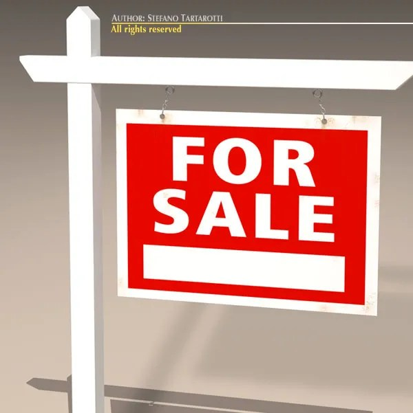 For Sale Sign Real Estate 3D Model \u2013 Buy For Sale Sign Real Estate - forsale sign