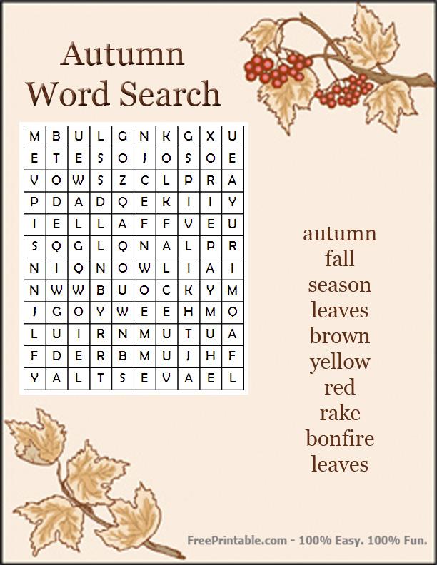 Pics Photos - Autumn Word Search Easy Autumn Word Search New Hard Autumn Word