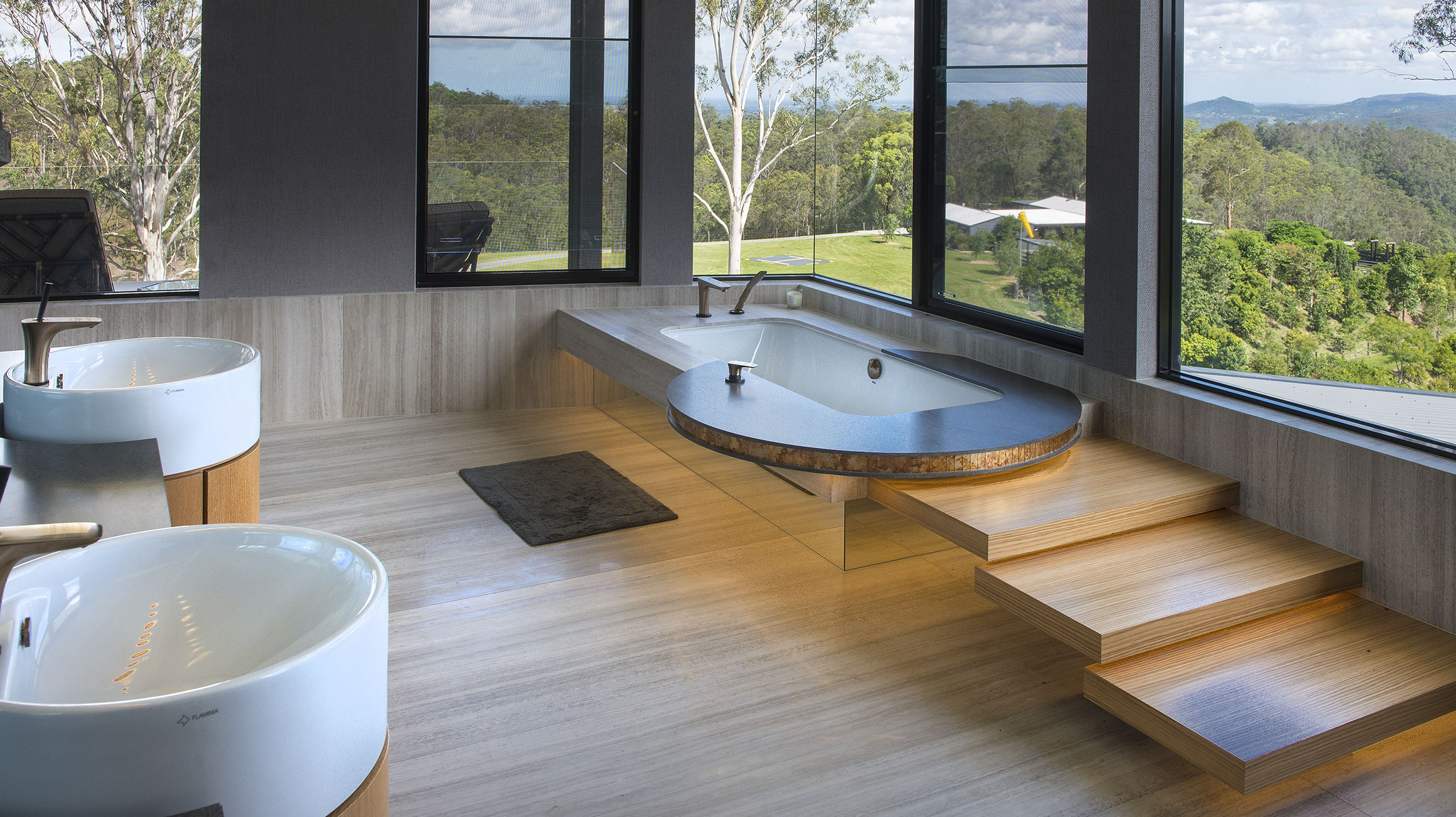 Natural Bathroom With Avant Garde Design Elements