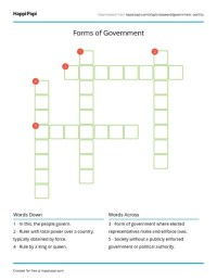 Forms of Government | Free Crossword Puzzle Worksheets ...