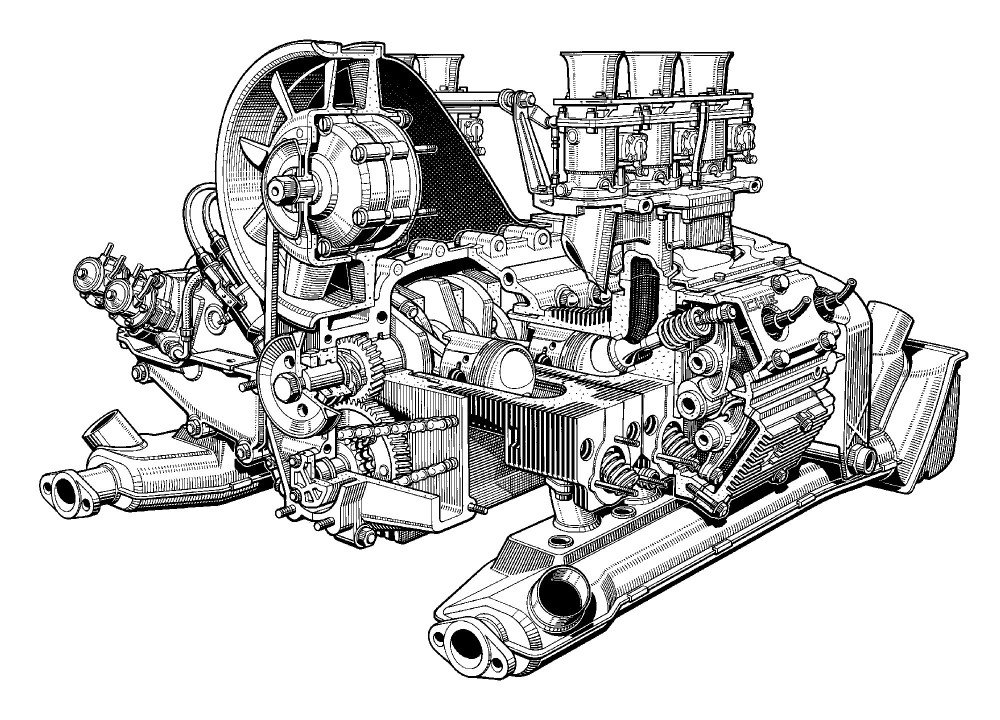 porsche carrera engine diagram