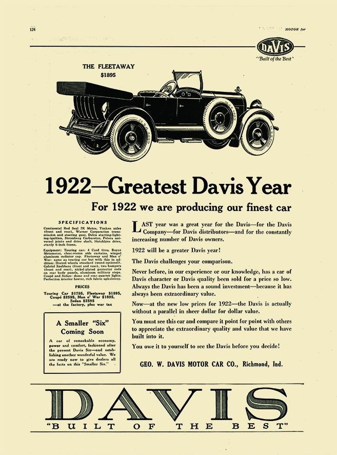 Car Manufacturers Careers Built Of The Best 1920 1922 Davis Davis Autom