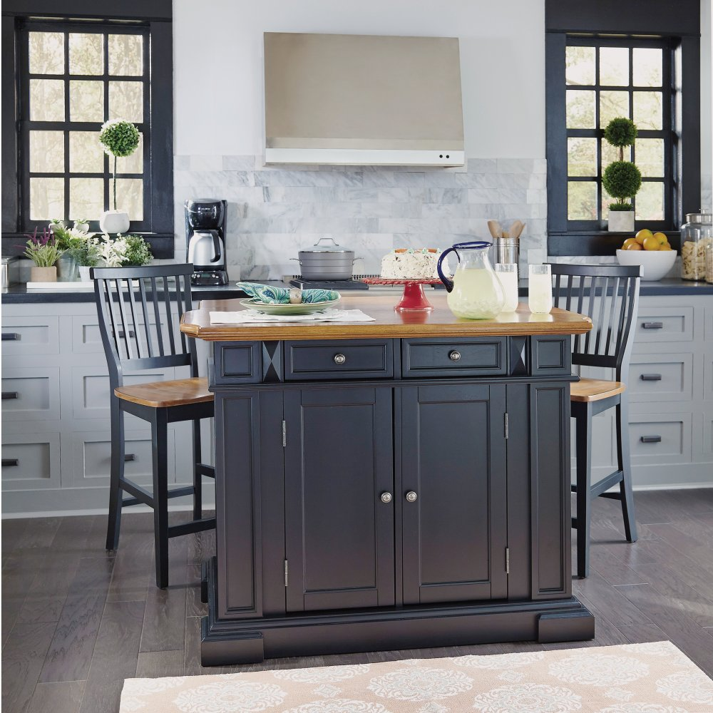 Stools Kitchen Islands Americana Kitchen Island And Stools Black And Distressed Oak