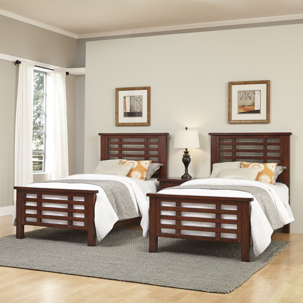 Beds And Beds Cabin Creek Two Twin Beds And Nightstand Home Styles