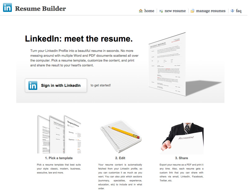 linkedin resume template - The Resume Builder