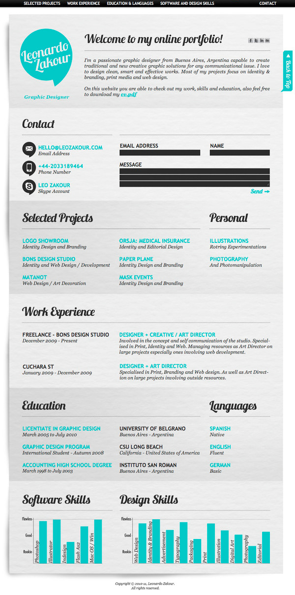50 Awesome Resume Designs That Will Bag The Job - Hongkiat - creative professional resume templates