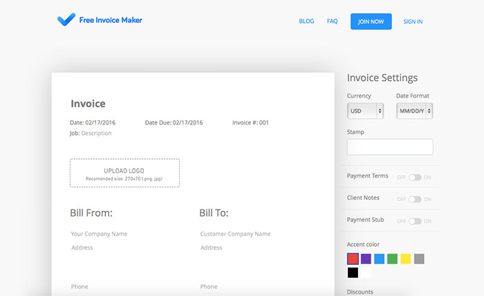 20 Free Tools to Create Instant Invoices Easily - Hongkiat - free invoice creator