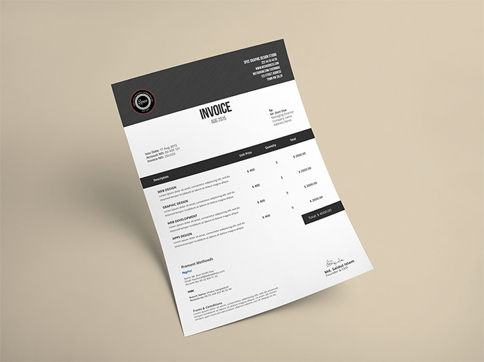 50 Creative Invoice Designs for Your Inspiration - Hongkiat - graphic design invoice sample