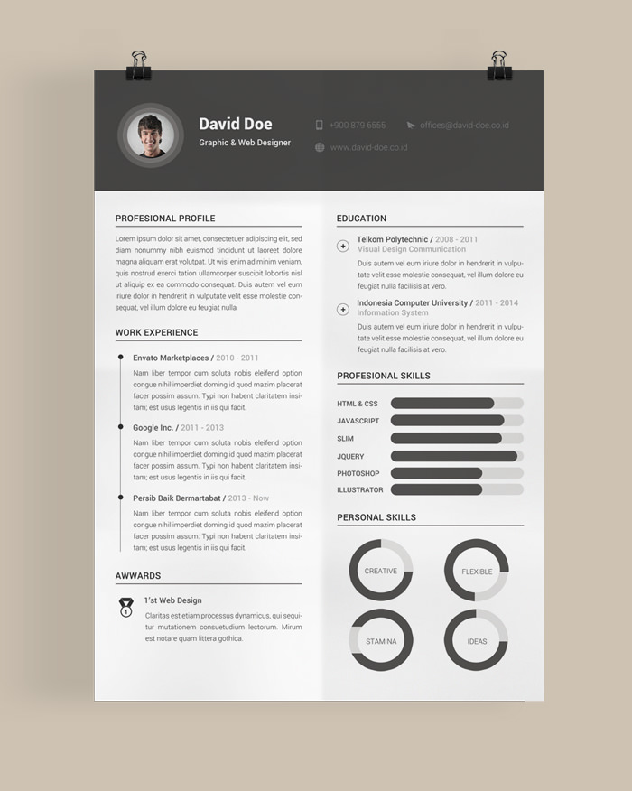 30 Free \ Beautiful Resume Templates To Download - Hongkiat - free cool resume templates