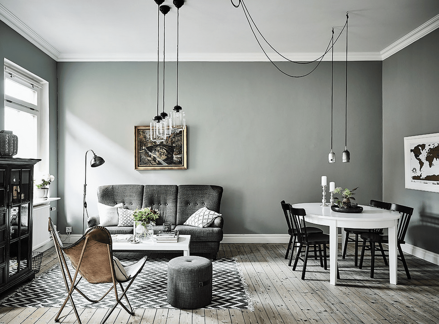 Black White And Grey Living Room Design Le Gris Vert Dans La Déco Salon Scandinave Industriel
