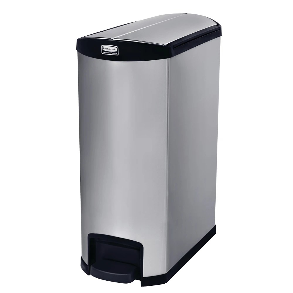 Small White Trash Can With Lid Rubbermaid 1902000 4 Gal Rectangle Metal Step Trash Can 27 17