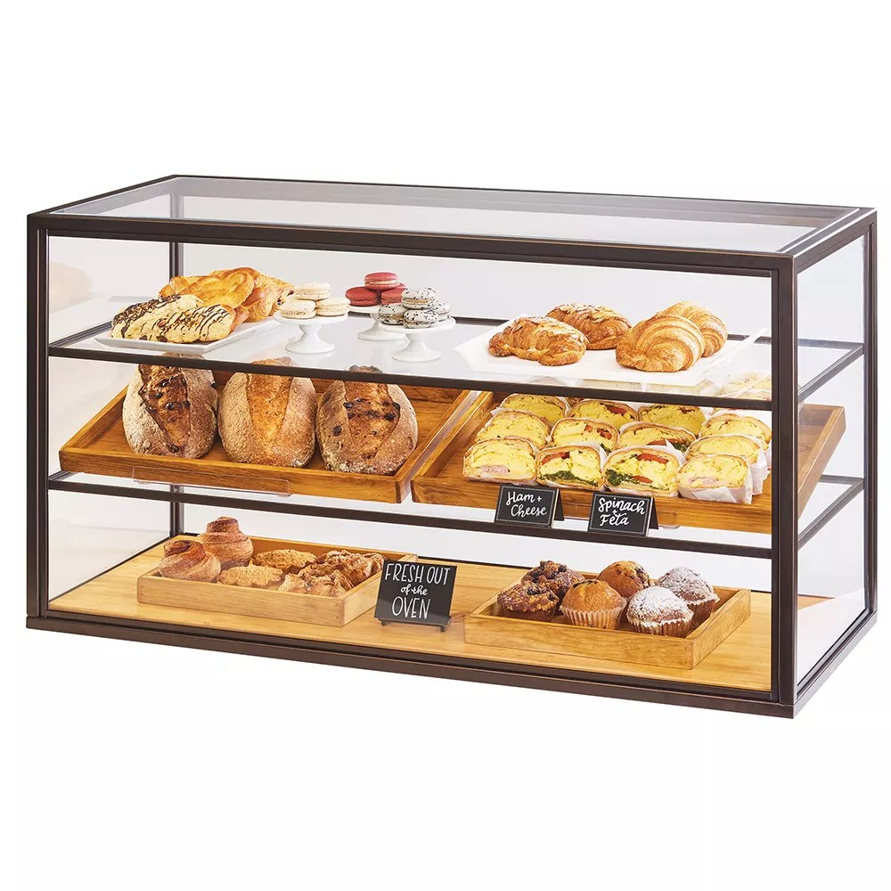 Countertop Food Display Case Cal Mil 3695 84 3 Tier Full Service Pastry Display Case W Sliding Doors Bronze Frame Acrylic