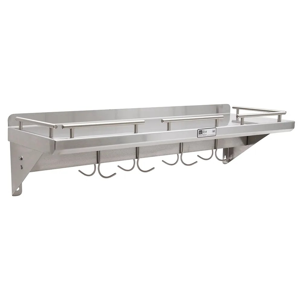 Cucina Kitchen Products John Boos Grws48 Ub Cucina Mensola Grande Wall Shelf With Pot Rack Galley Rail Stainless 48