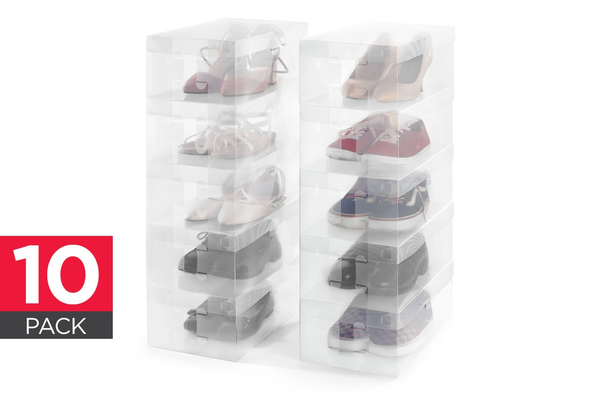 Shoe Box Australia Ovela Clear Foldable Shoe Boxes 10 Pack Ebay