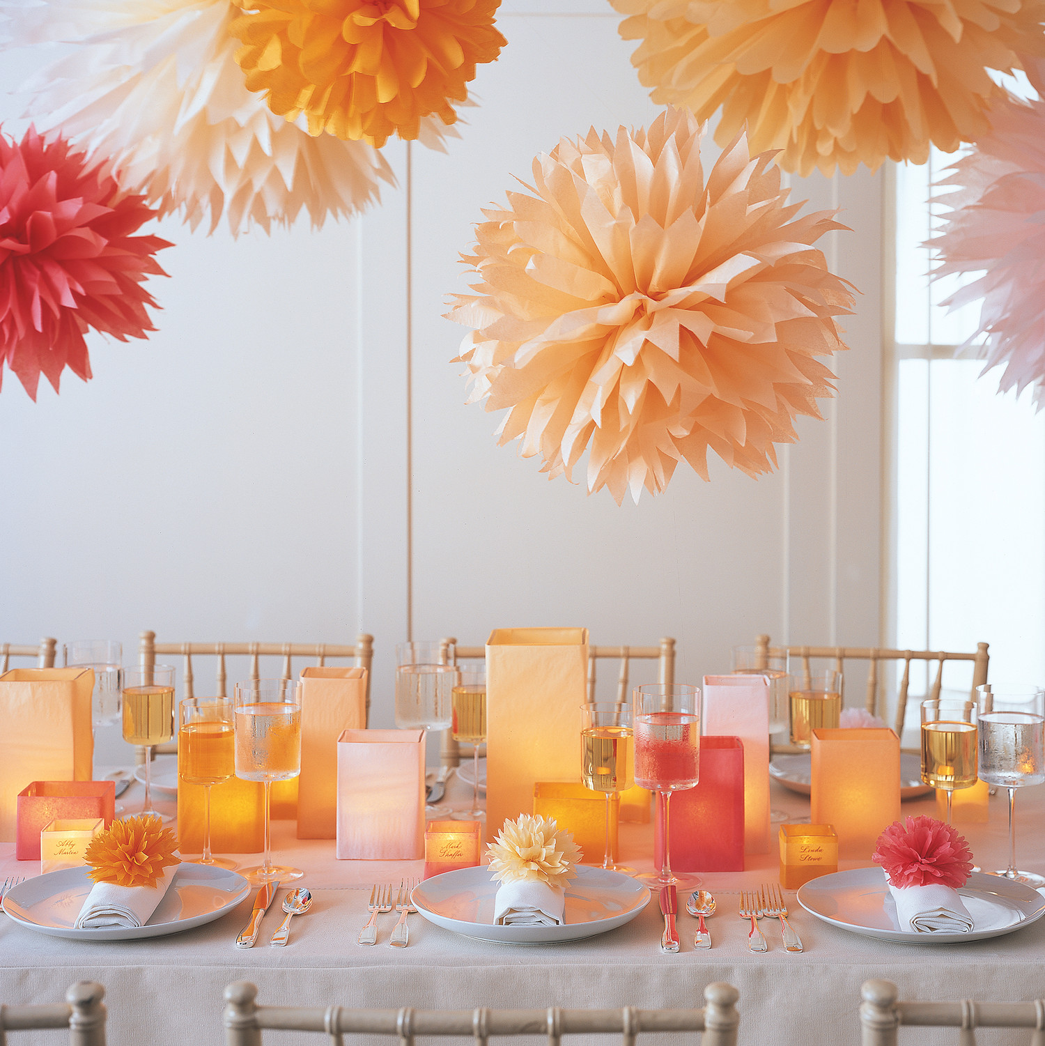 Decoration For Party Pom Poms And Luminarias And Video Martha Stewart
