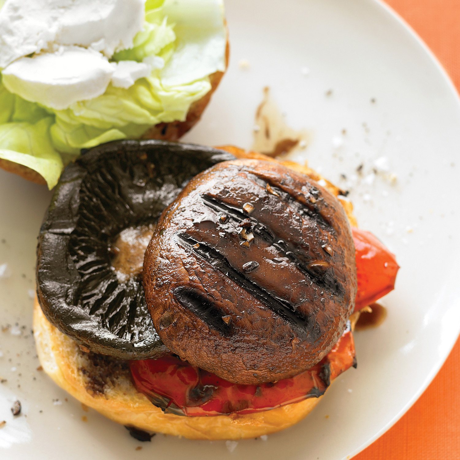 Lunch Sandwich Balsamic Portobello Burgers With Bell Pepper And Goat Cheese