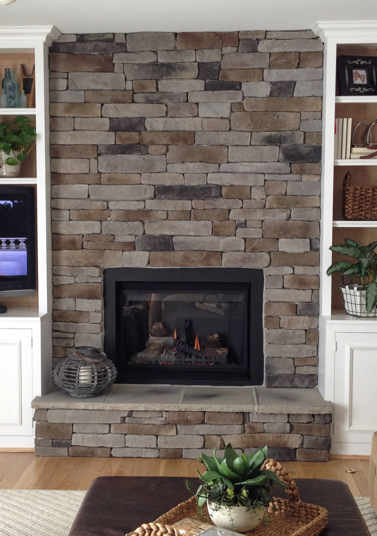 Installing Cultured Stone Fireplace How To Create The Stacked Stone Fireplace Look On A Budget