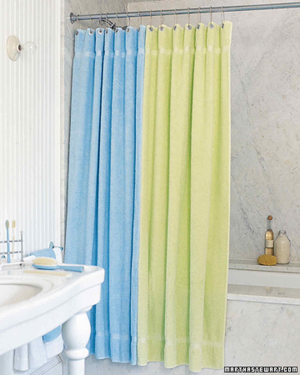 How To Make Shower Curtain Terry Cloth Curtain Martha Stewart