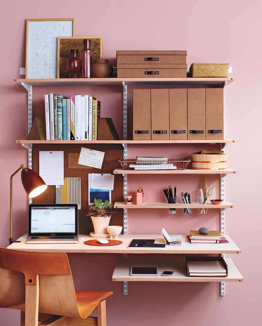 Desk Ideas Diy Leather Shelf Edging For A Chic Home Office Martha