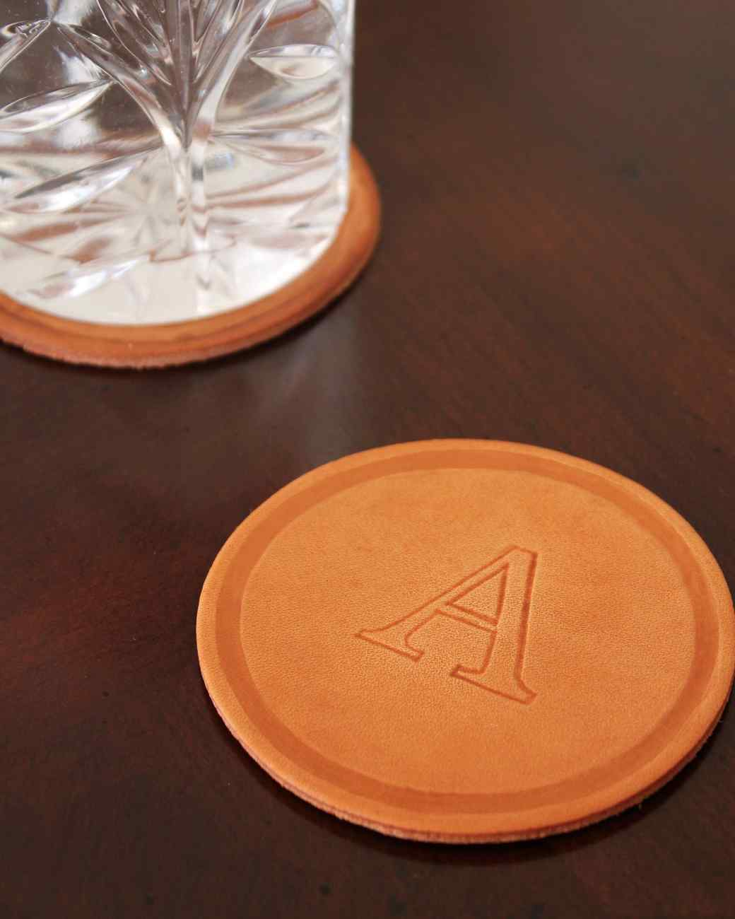 Diy Table Coasters Monogrammed Leather Coasters Martha Stewart