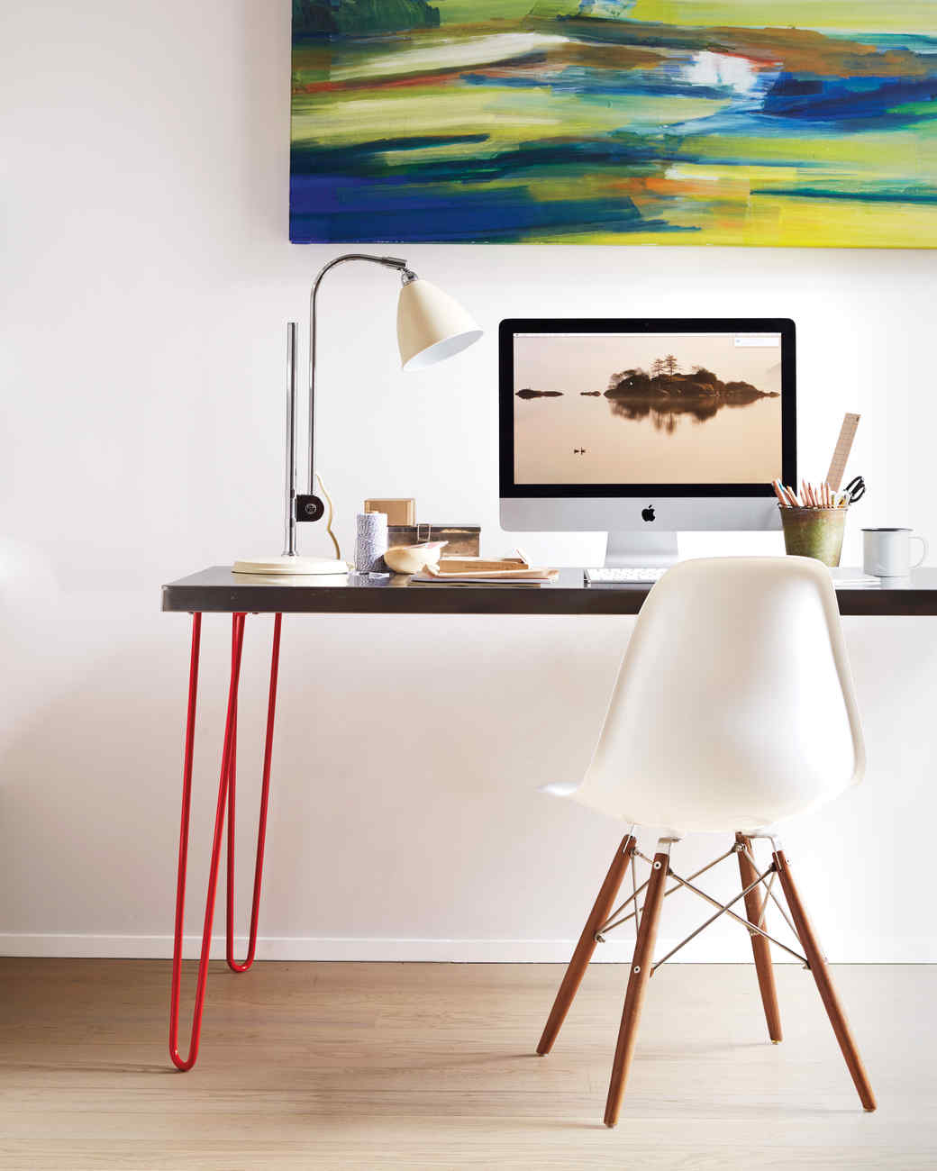 Diy Desk With Hairpin Legs Hairpin Leg And Stainless Top Desk Martha Stewart