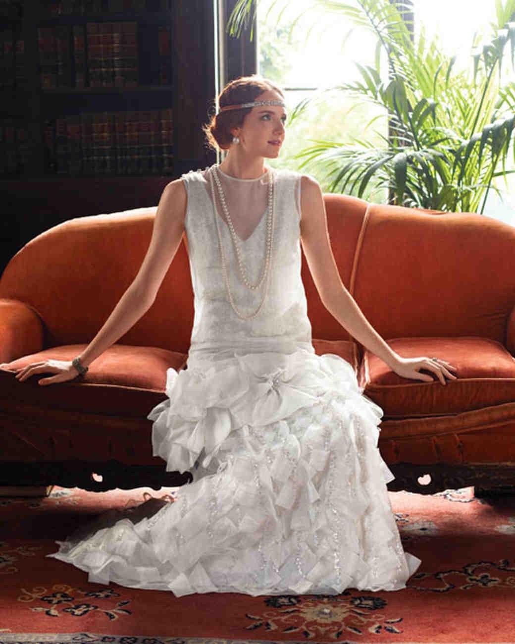 classic wedding dress cuts decade classic wedding dress Flapper Inspired Wedding Dress