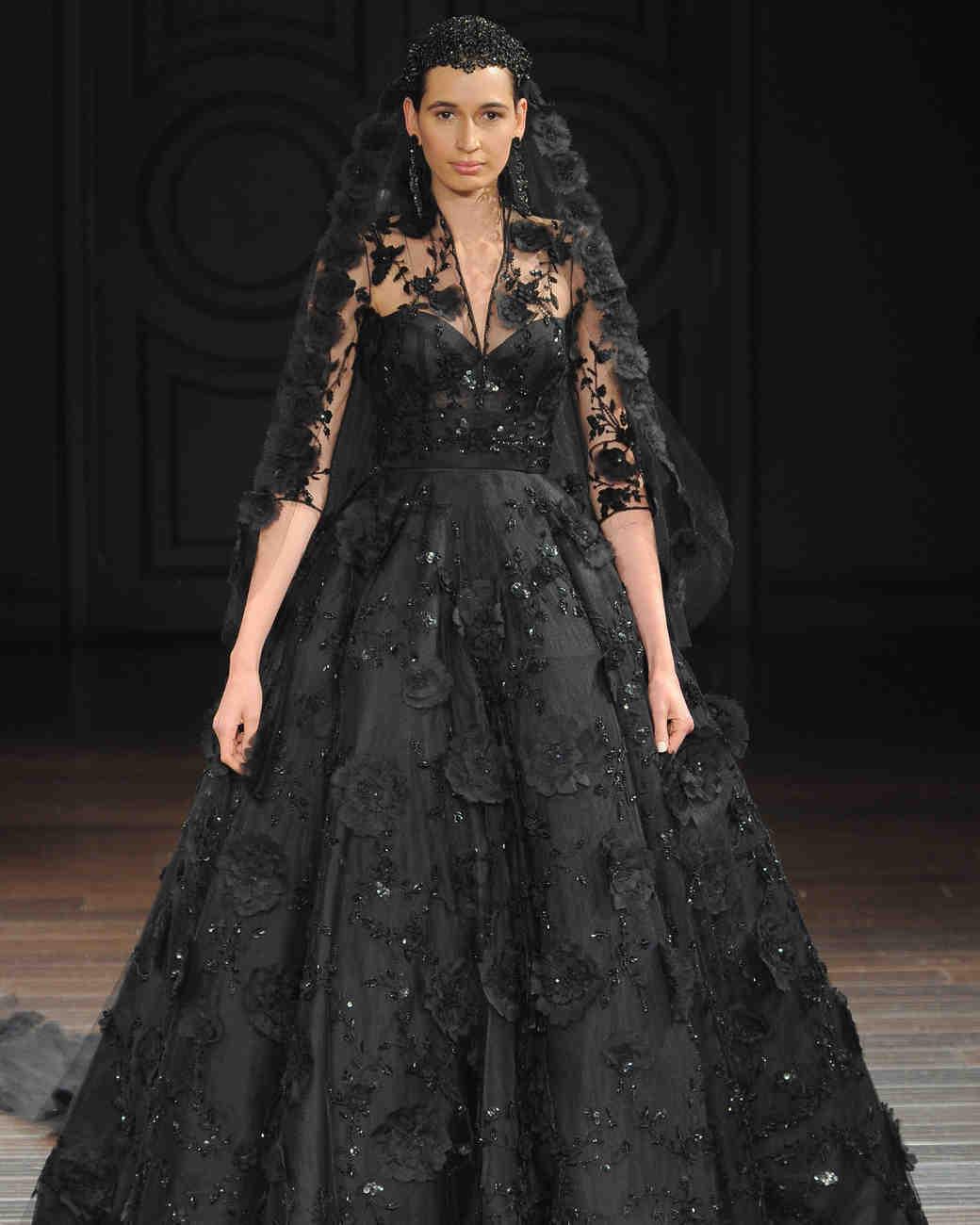 black wedding dresses black wedding dresses Naeem Khan embellished black wedding dress