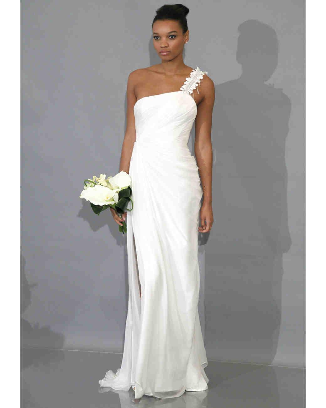 modern sheath wedding dresses fall bridal fashion week cowl neck wedding dress Modern Sheath Wedding Dresses Fall Bridal Fashion Week Martha Stewart Weddings