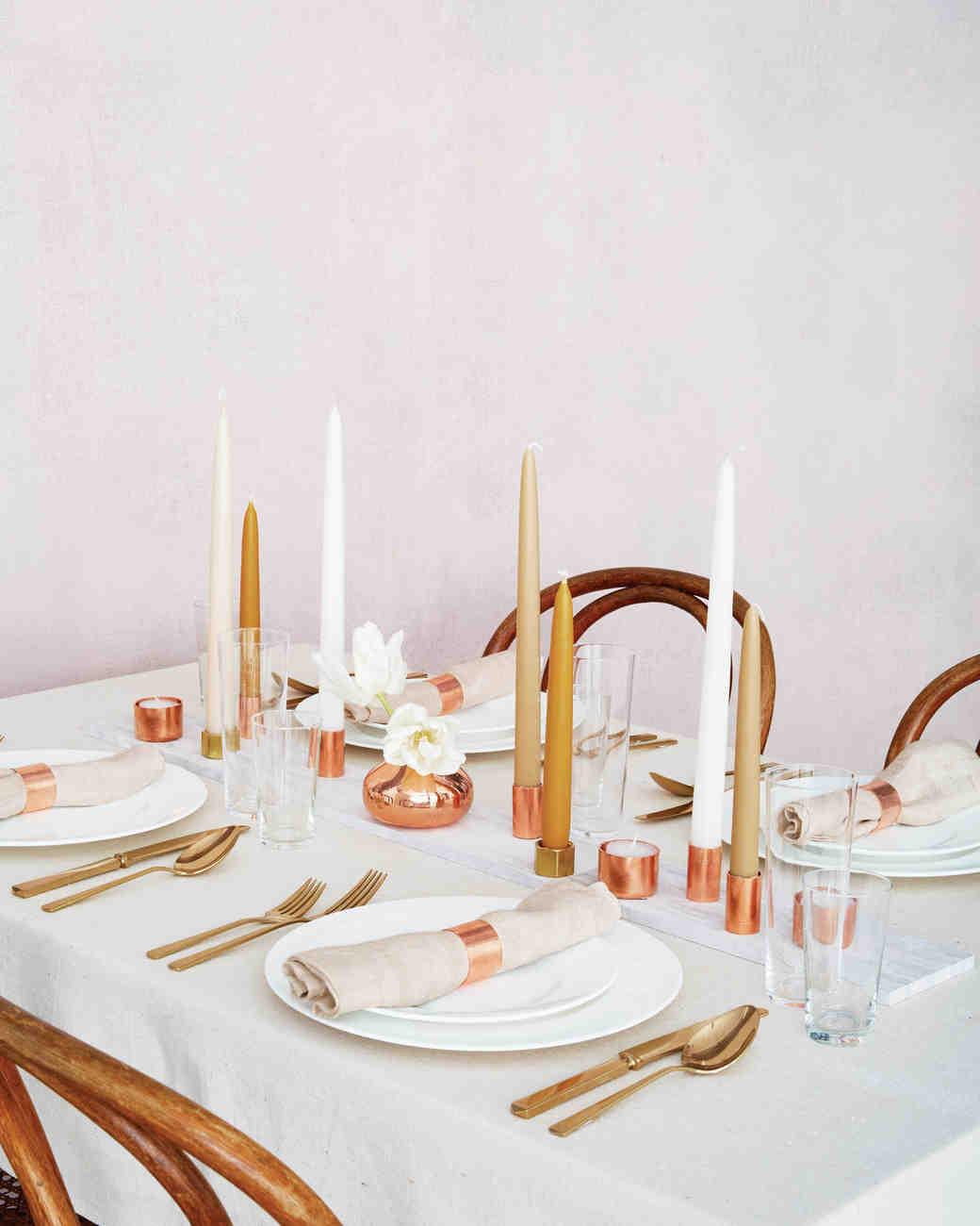 Artistic Silver Copper Candle Centerpiece Diy Wedding Centerpieces We Love Martha Stewart Weddings Wedding Centerpiece Ideas Wedding Centerpiece Ideas Navy ideas Wedding Centerpiece Ideas
