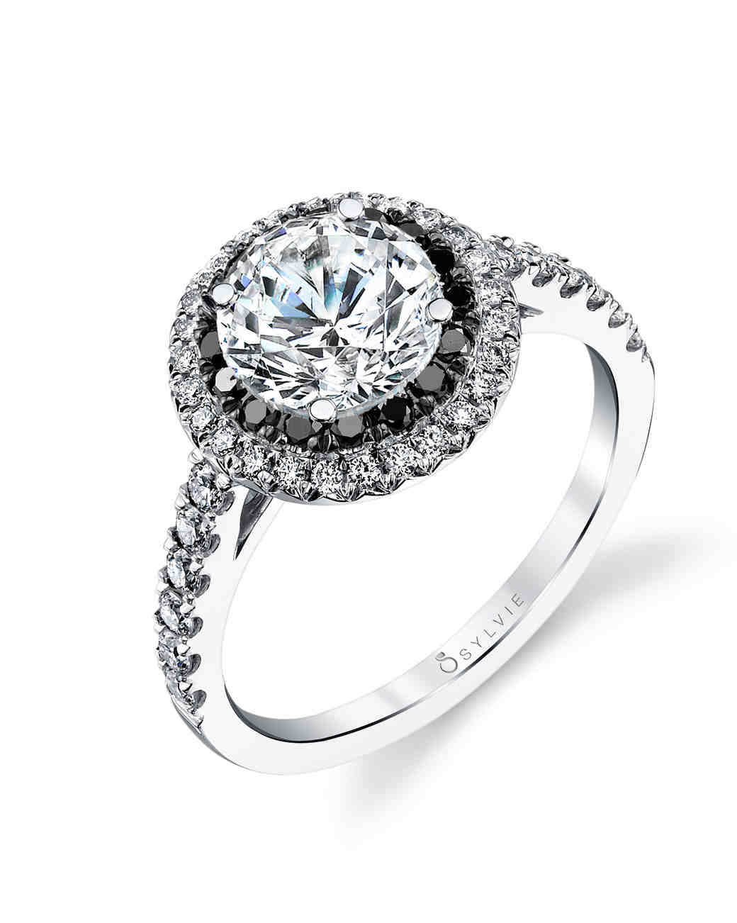 best black diamond engagement rings black wedding ring The New LBD The Little Black Diamond Engagement Ring Martha Stewart Weddings