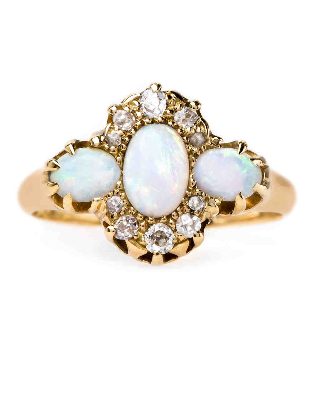 opal engagement rings blue opal wedding rings Trumpet Horn Opal Engagement Ring