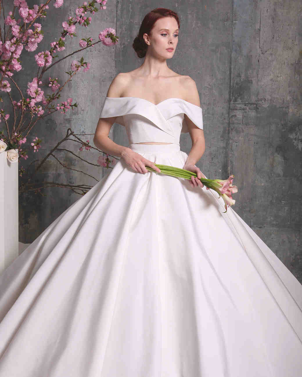 two piece wedding dresses colorful wedding dresses christian siriano dress spring off shoulder