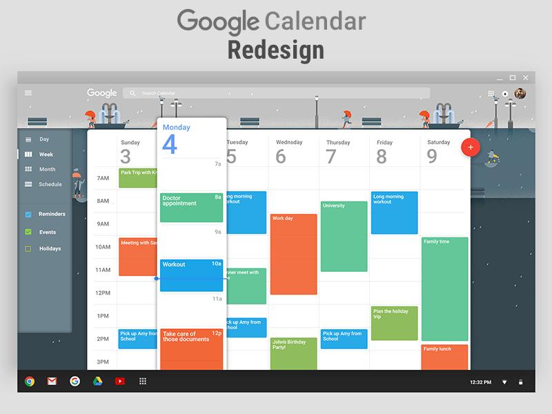 Google Calendar Add New Calendar To Iphone Add Someone Elses Google Calendar Computer Calendar Help Google Calendar Redesign Wip Materialup
