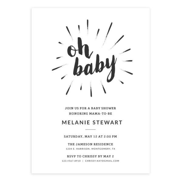 OH BABY! 5 X 7 Baby Shower Invitation Template - Mockaroon