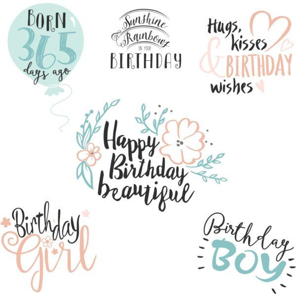 Birthday Word Art Overlays - Mockaroon