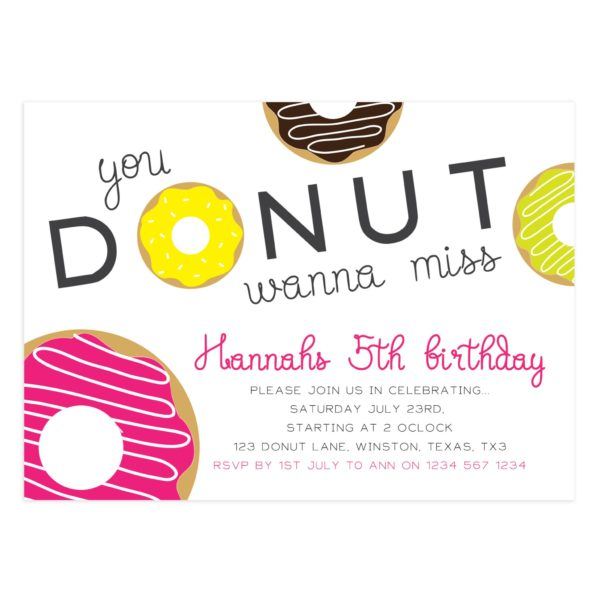 Donut Birthday Invitation Template - Mockaroon