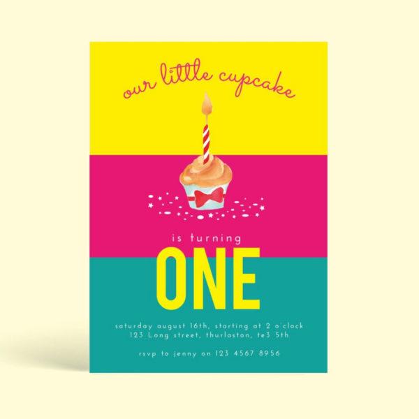 Cupcake Birthday Invitation Card PSD - Mockaroon